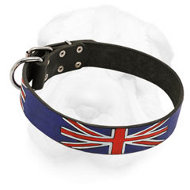 "Leather Shar-Pei Collar ""Union Jack"""