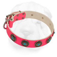 Pink Shar-Pei Collar Made of Leather with Blue Stones