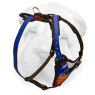 Leather Shar-Pei Harness with Russian Flag Painting
