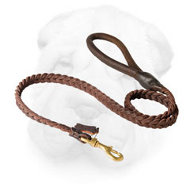 Braided Genuine Leather Leash for Shar Pei Activities