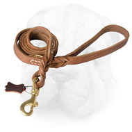 Braided Leather Shar Pei Leash with Brass Snap Hook