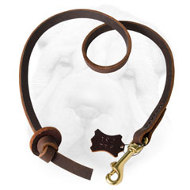 Leather Shar Pei Leash with Knot-Handle