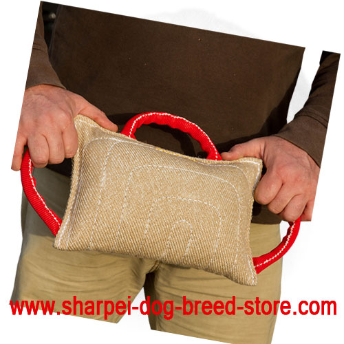jute shar pei bite pillow with three durable handles te7 1042 dog