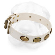 White Leather Shar-Pei Collar with Vintage Oval Plates
