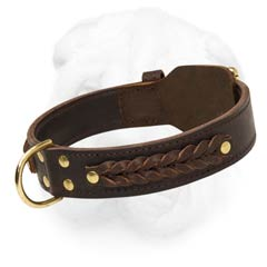 Extra Wide Shar Pei Fur Saving Leather Collar Decorated with Attractive Braids