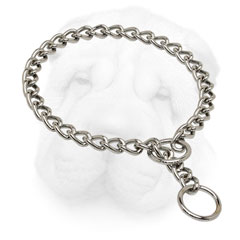 Dog Training Choke Collar made of Chrome Plated Steel for Shar Pei