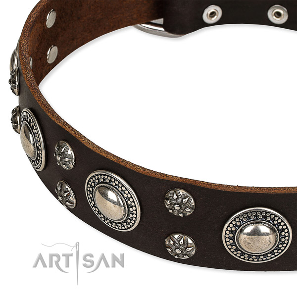 Adjustable leather dog collar with almost unbreakable durable buckle