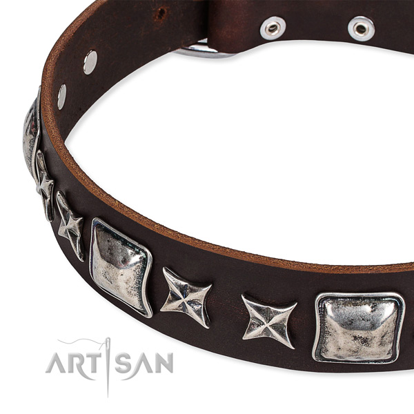 Natural genuine leather dog collar with embellishments for easy wearing