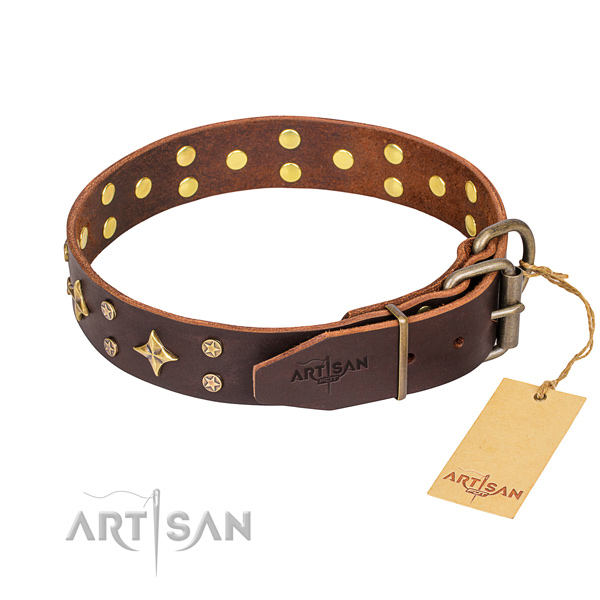Handy use full grain leather collar with studs for your dog