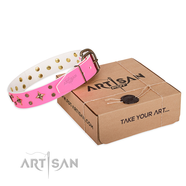 Studded natural genuine leather dog collar for handy use