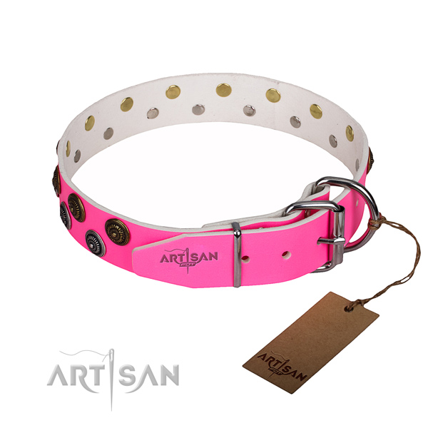 Everyday walking genuine leather collar with decorations for your canine