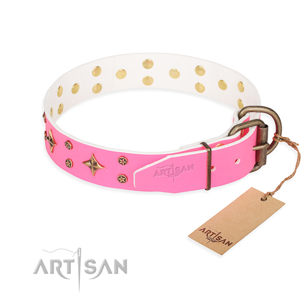 Everyday use full grain genuine leather collar with decorations for your doggie