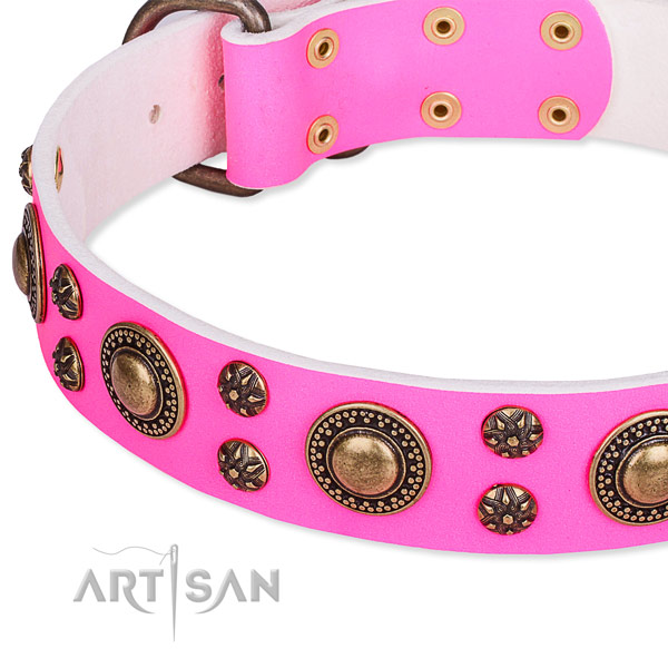 Natural genuine leather dog collar with significant decorations