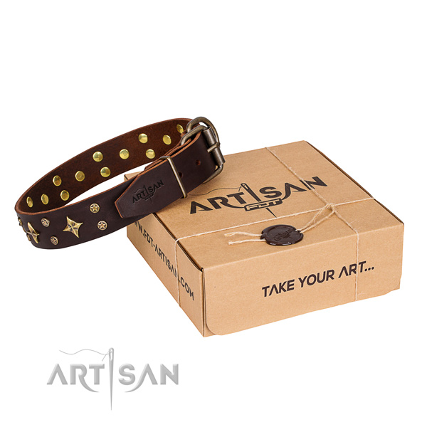 Embellished full grain leather dog collar for comfortable wearing