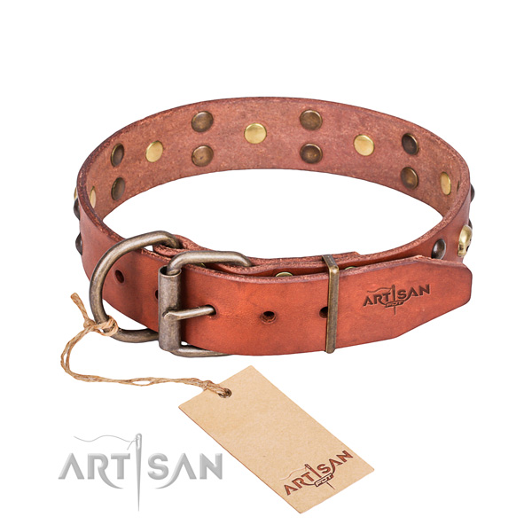 Leather dog collar with smoothed edges for convenient daily use