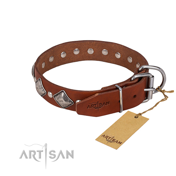 Full grain leather dog collar with worked out finish