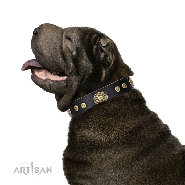 Stunning studded natural leather dog collar for easy wearing