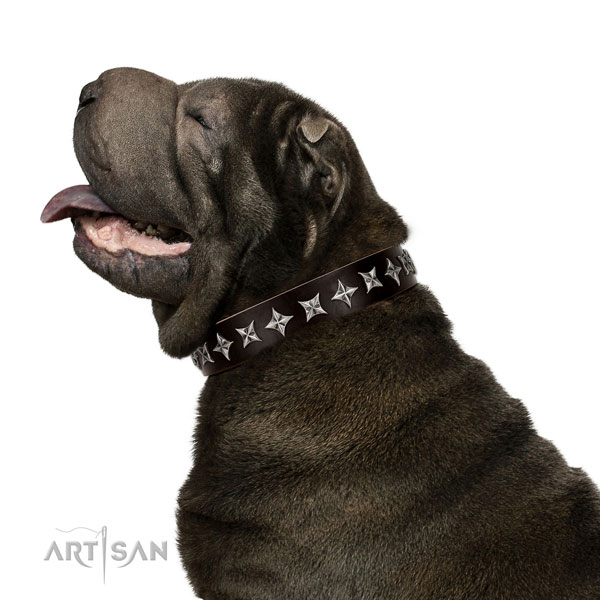 Easy wearing studded dog collar of high quality genuine leather