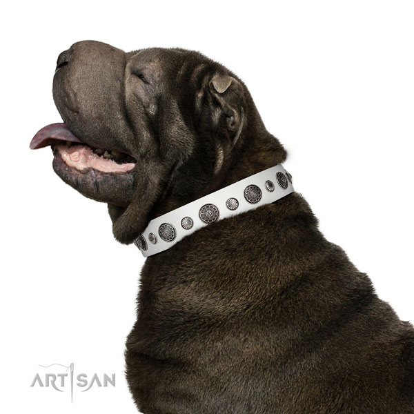 Exceptional Full grain natural leather dog collar with corrosion proof D-ring