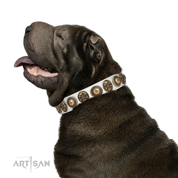 Adorned full grain leather collar for your attractive doggie