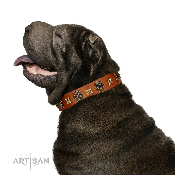 Fine quality natural leather dog collar with studs