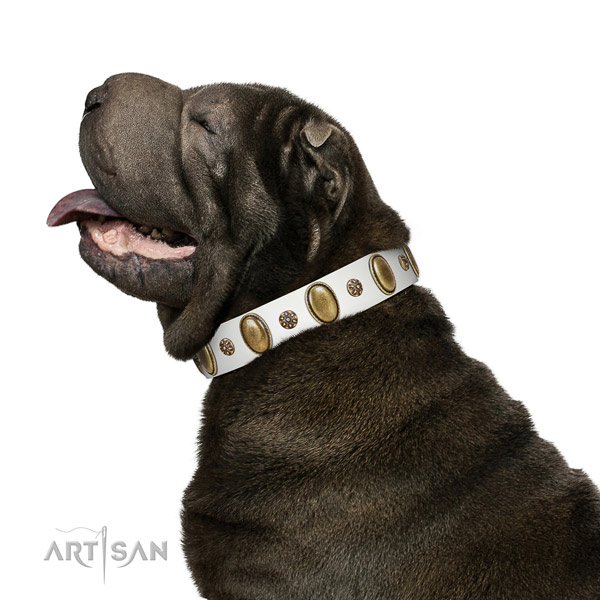 Handy use soft to touch full grain natural leather dog collar