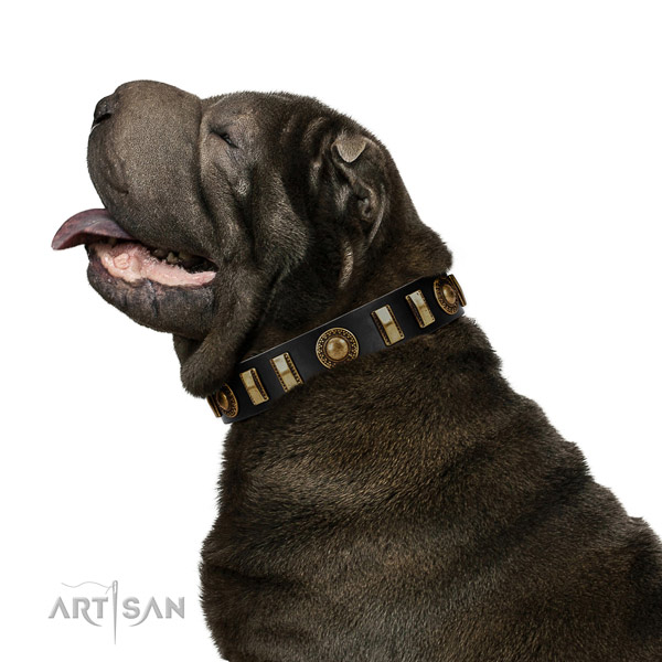 Soft to touch leather dog collar with corrosion resistant D-ring