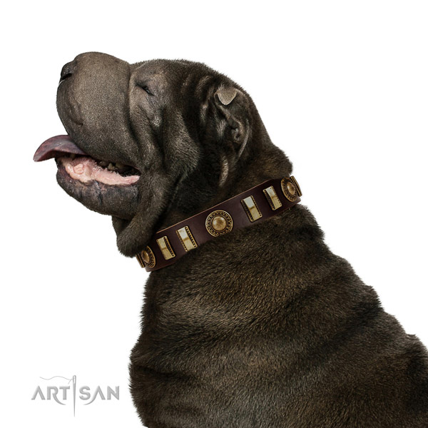 Soft to touch full grain genuine leather dog collar with durable fittings