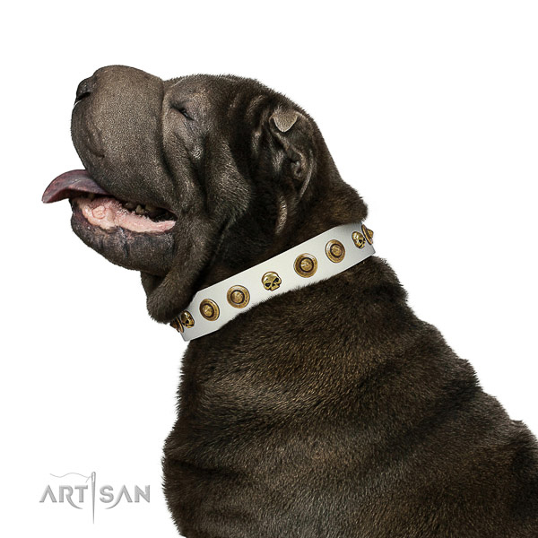 Flexible full grain natural leather dog collar with decorations for your dog