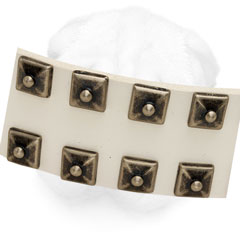Leather Shar Pei Collar Decorated with Square Studs