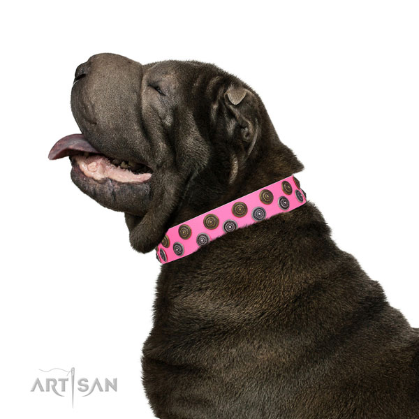 Sharpei leather collar with durable D-ring for basic training