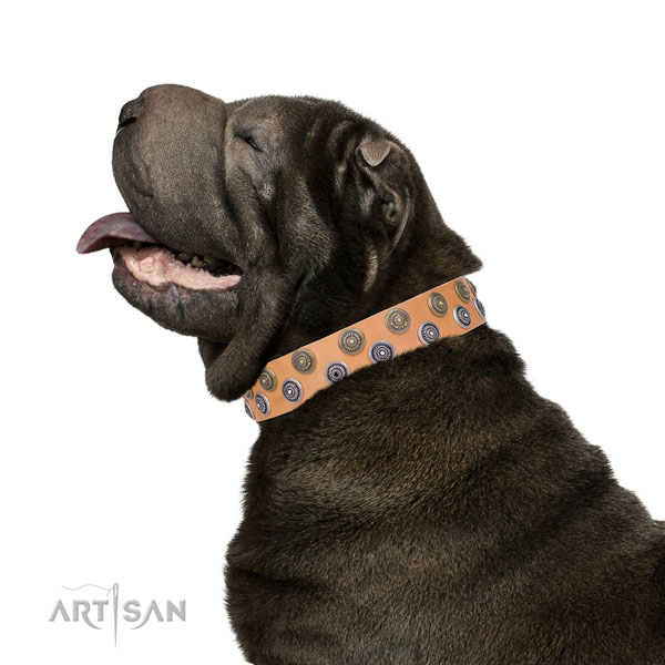 Sharpei full grain natural leather collar with rust resistant D-ring for easy wearing