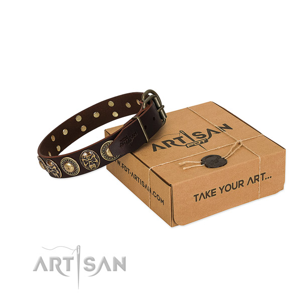 Rust resistant decorations on dog collar for easy wearing