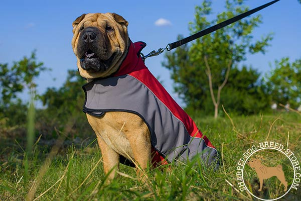 Resistant-to-tear nylon dog coat for Shar Pei