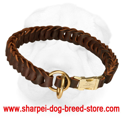 Leather Shar Pei Choke Collar with Quick Release Buckle for Behavior Correction