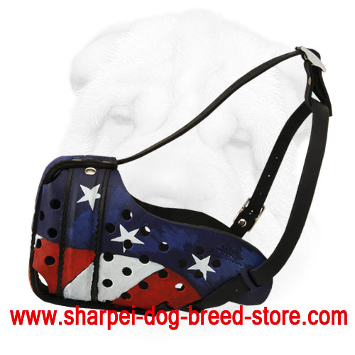 Leather Shar-Pei Muzzle Hand Painted with American Flag