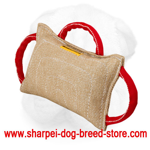 Jute Shar Pei Bite Pillow with Three Durable Handles