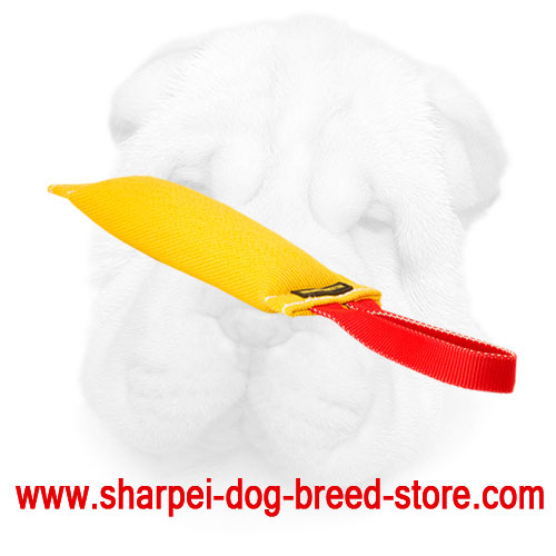 French Linen Shar Pei Bite Tug with Soft Inner Stuffing