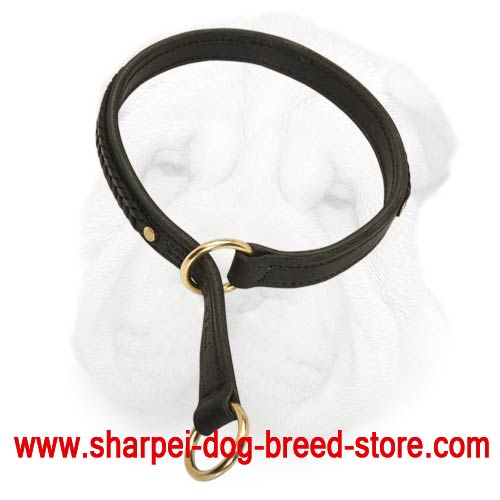 Exquisitely Decorated with Braids 2 Ply Leather Choke Collar for Your Shar Pei