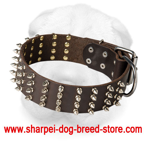Wide Shar Pei Collar with Four Rows of Nickel Spikes