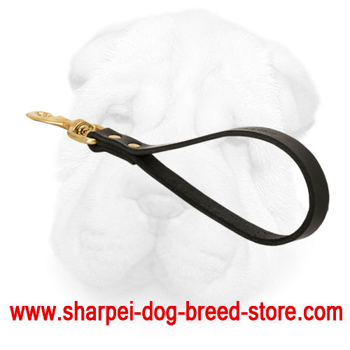 Genuine Leather Shar Pei Traffic Leash