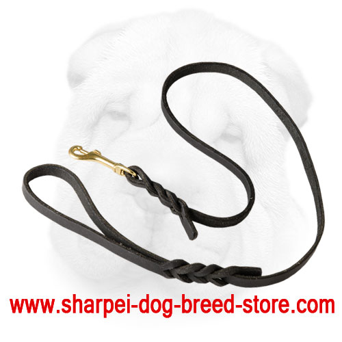 Braided Genuine Leather Shar Pei Leash