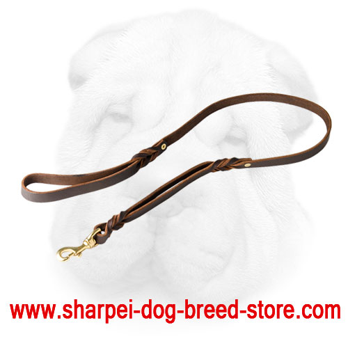 Leather Shar Pei Leash with Two Handles