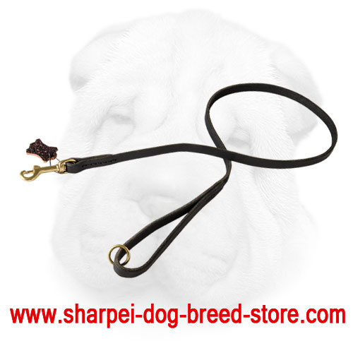 Shar Pei Leather Leash with Brass Snap Hook