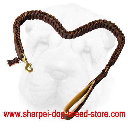 Braided Leather Leash for Shar Pei Walking