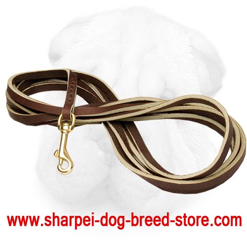 Genuine Leather Shar Pei Leash for Tracking and Walking