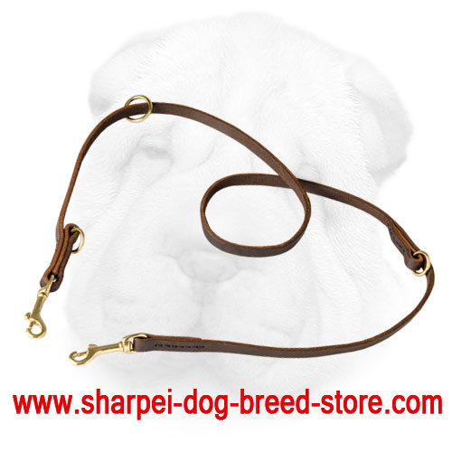 Genuine Leather Multifunctional Leash for Shar Pei