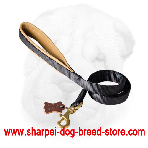 Strong Nylon Shar Pei Leash with Soft Handle