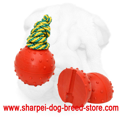 Shar Pei Rubber Ball Toy for Safe & Easy Retrieve Training - Small