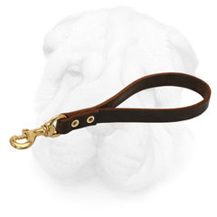 Brown Leather Leash for Shar Pei Easy Handling